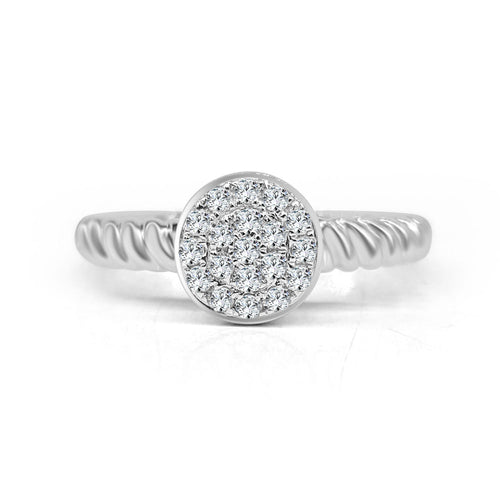 Round Pave Diamonds With Twist Cable Band