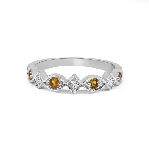 Citrine And Diamond Fancy Band