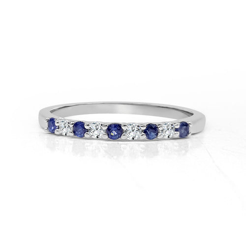 Diamond And Sapphire Stack Band