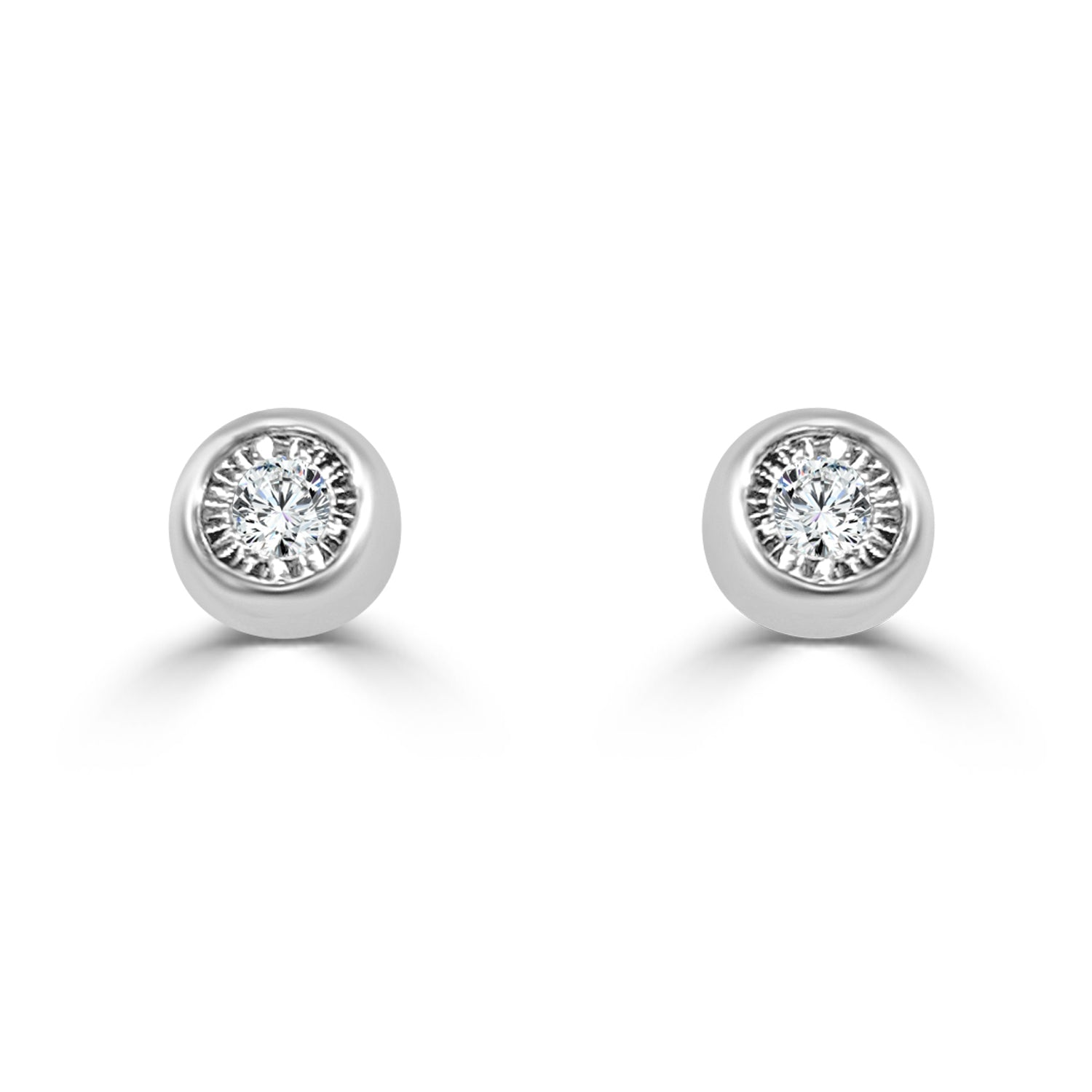 gold stud set earrings diamond yellow in bezel