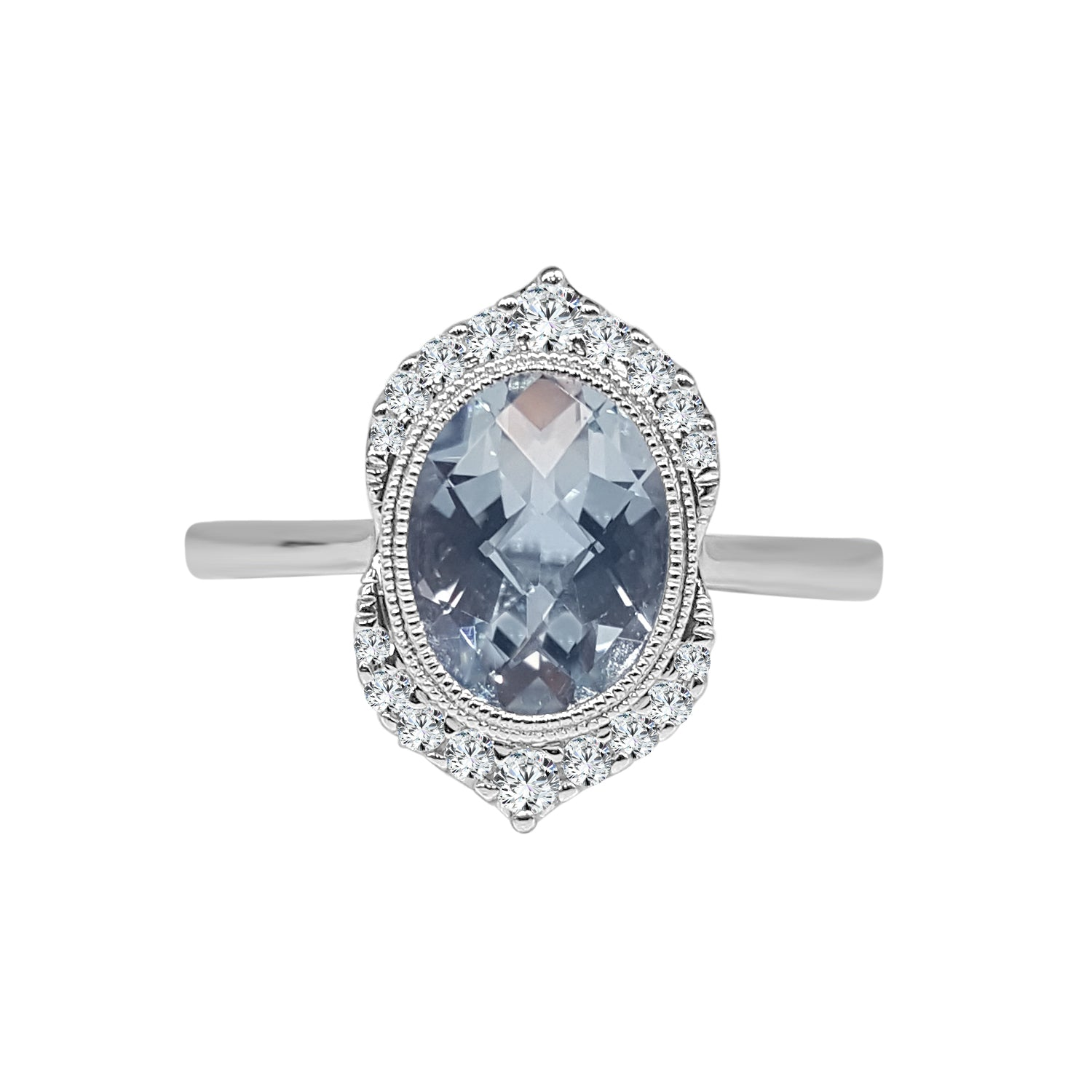 Oval Aquamarine With Vintage Style Diamond Design