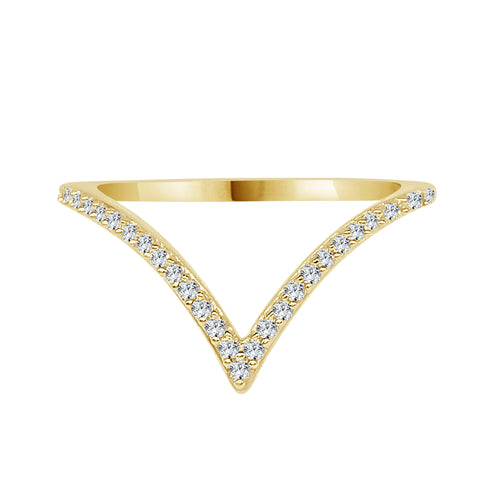 Yellow Gold Diamond V Ring
