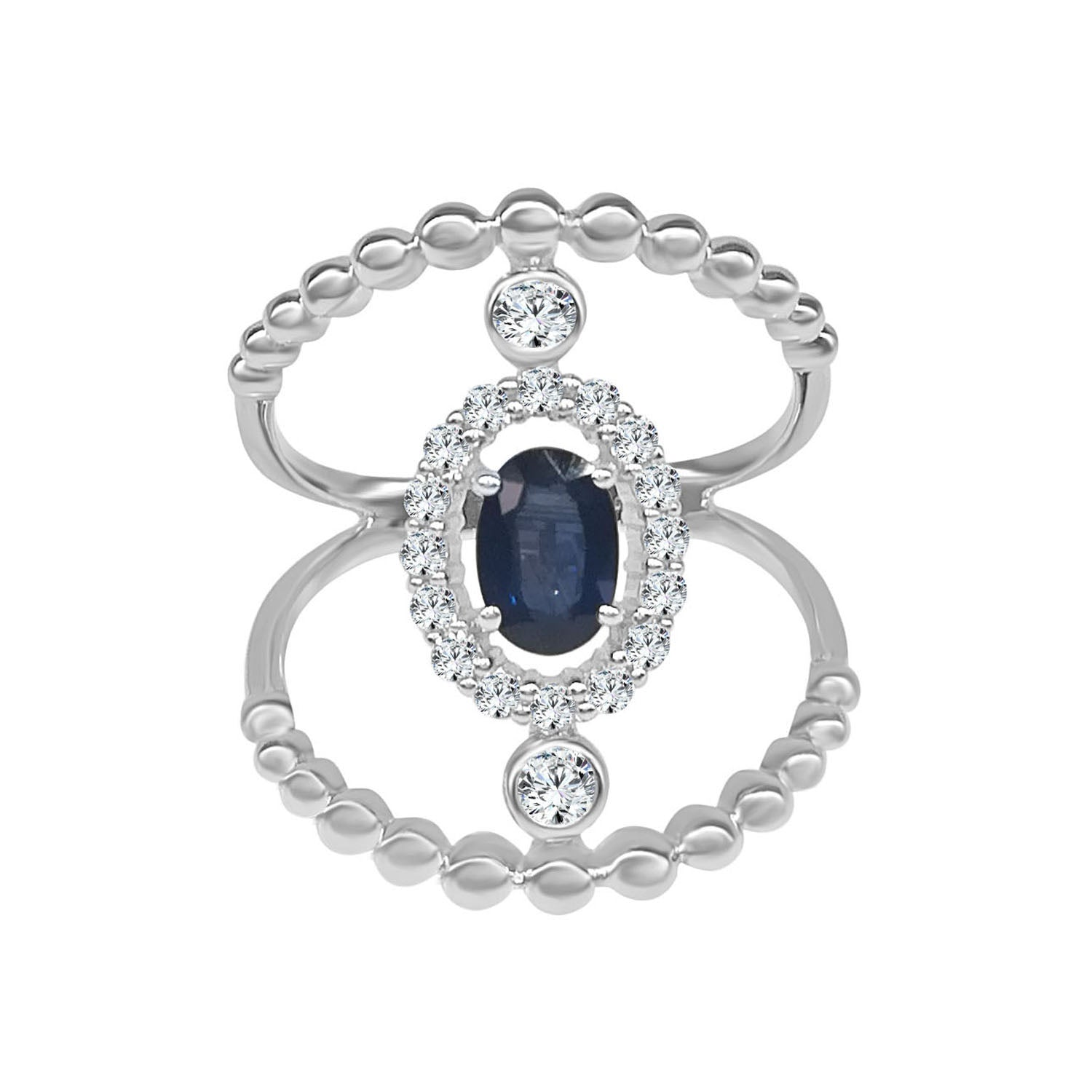 Fancy Cutout Sapphire Diamond And Sapphire Ring