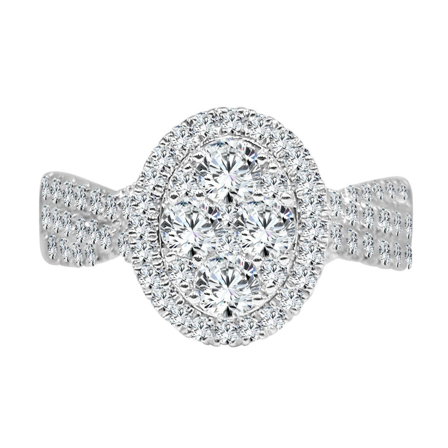 Oval Diamond Cluster Ring With Halo And Curved Band