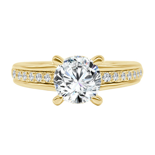 Solitaire With Bezel Set Diamond Band