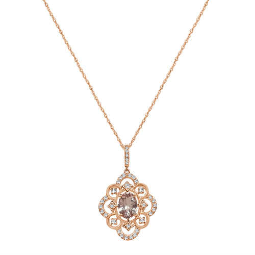 Rose Gold Morganite and Diamond Fancy Open Pendant