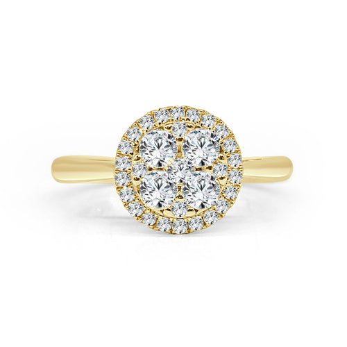 Yellow Gold Cluster Ring With Diamond Halo