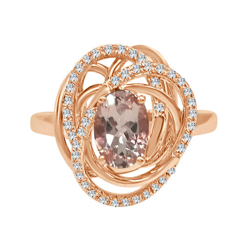 Morganite And Diamond Rose Gold Fancy Halo Ring