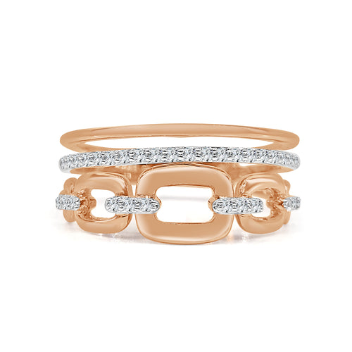 Rose Gold Fancy Diamond Stack Ring