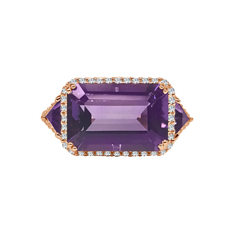Emerald Cut Amethyst With Trillions And Diamond Halo