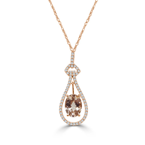 Oval Morganite Necklace With Fancy Link Halo In Rose Gold