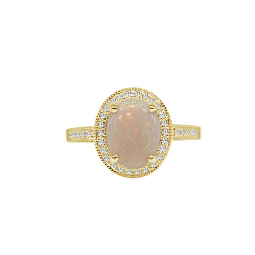 Oval Opal Ring With Diamond Halo And Diamond Band