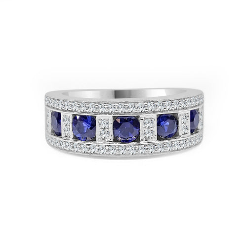 Fana Round Sapphire And Diamond Fancy Ring