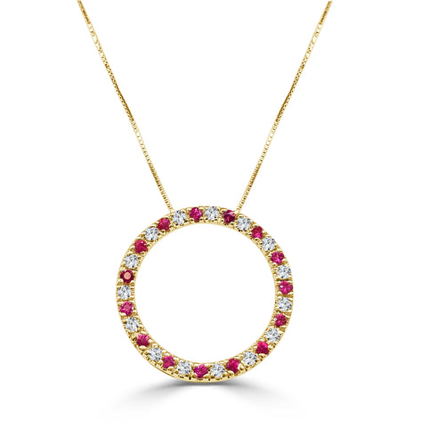 Open Round Ruby And Diamond Necklace