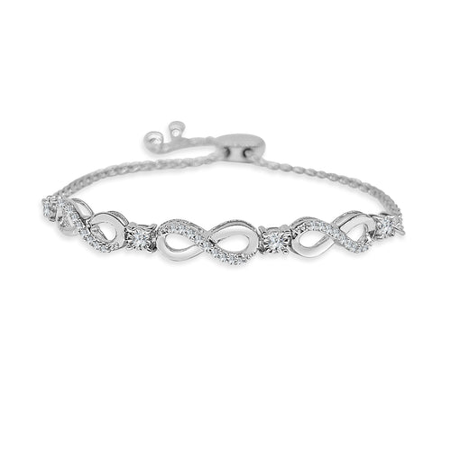 Diamond Infinity Adjustable Bolo Bracelet