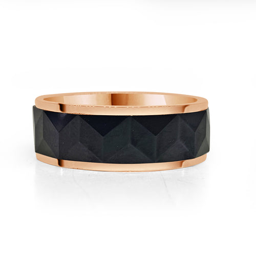 Rose Gold Tungsten Band With Black Geometric Engraving