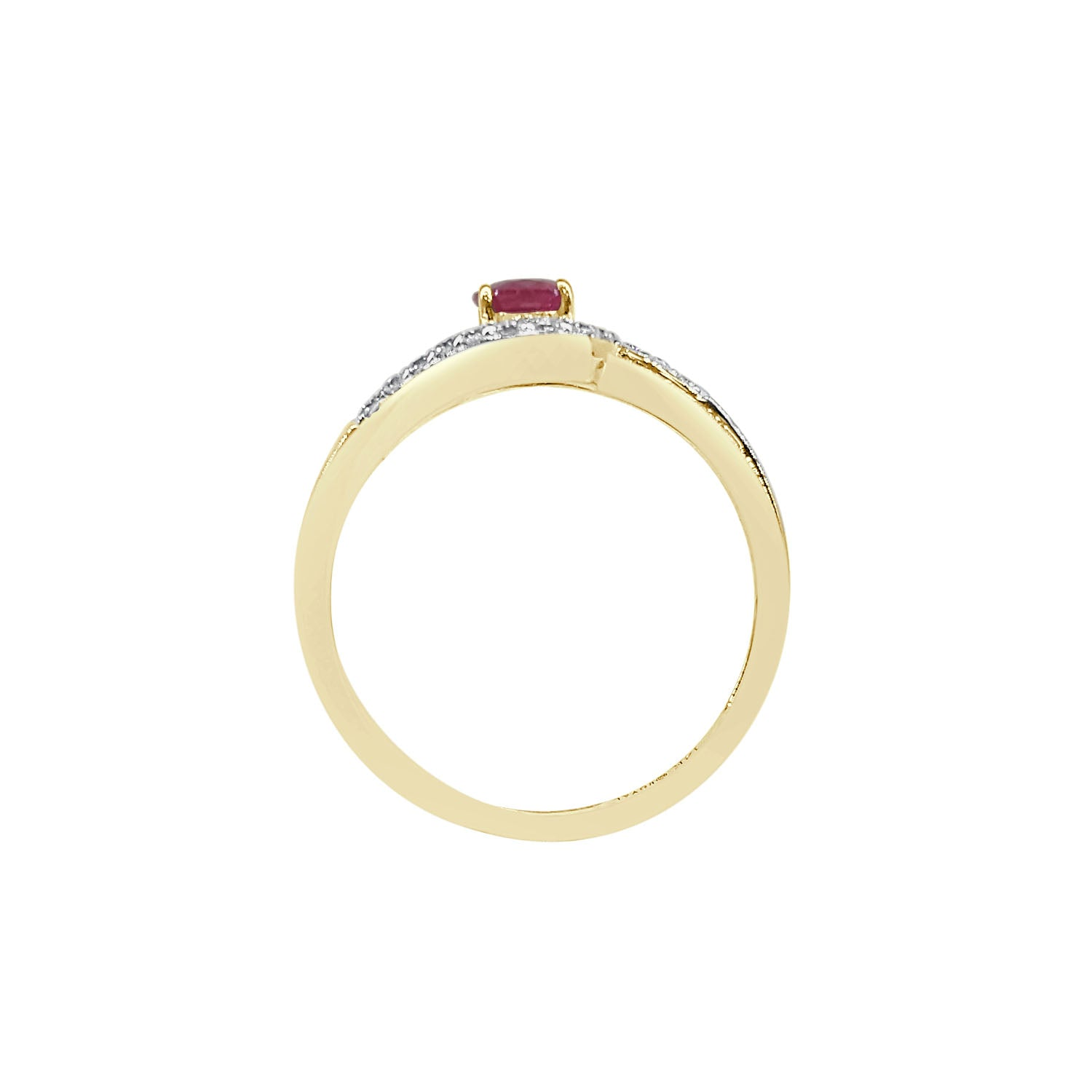 Oval Ruby With Twist Diamond Halo Ring In Yellow Gold