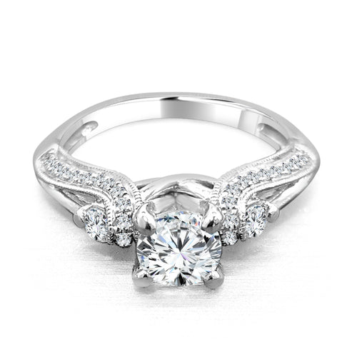 Diamond And Milgrain Engagement Ring With Loop Shank
