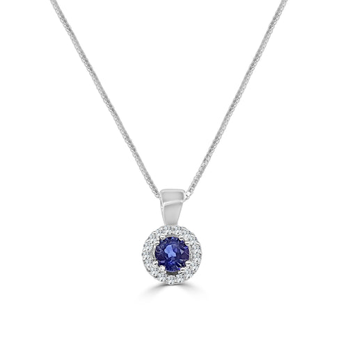Round Sapphire With Halo Necklace