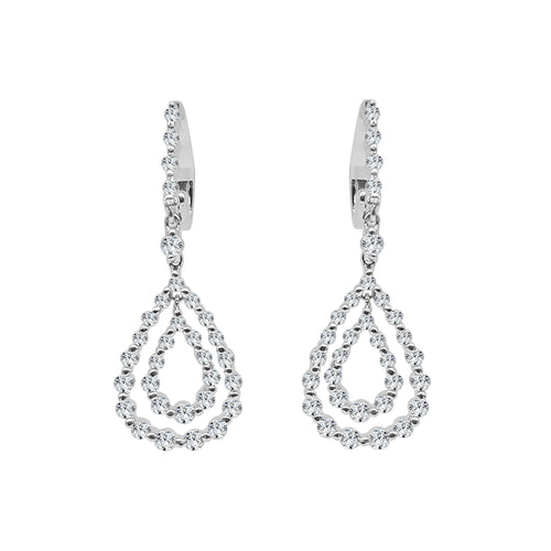 Double Pear Shape Diamond Drop Earrings