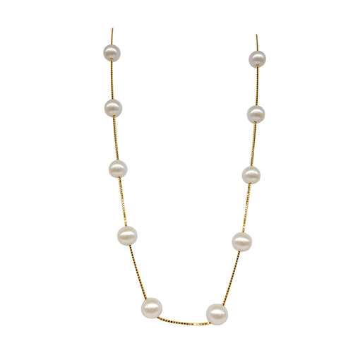 Freshwater Pearl Station Necklace In 14 Karat Yellow Gold