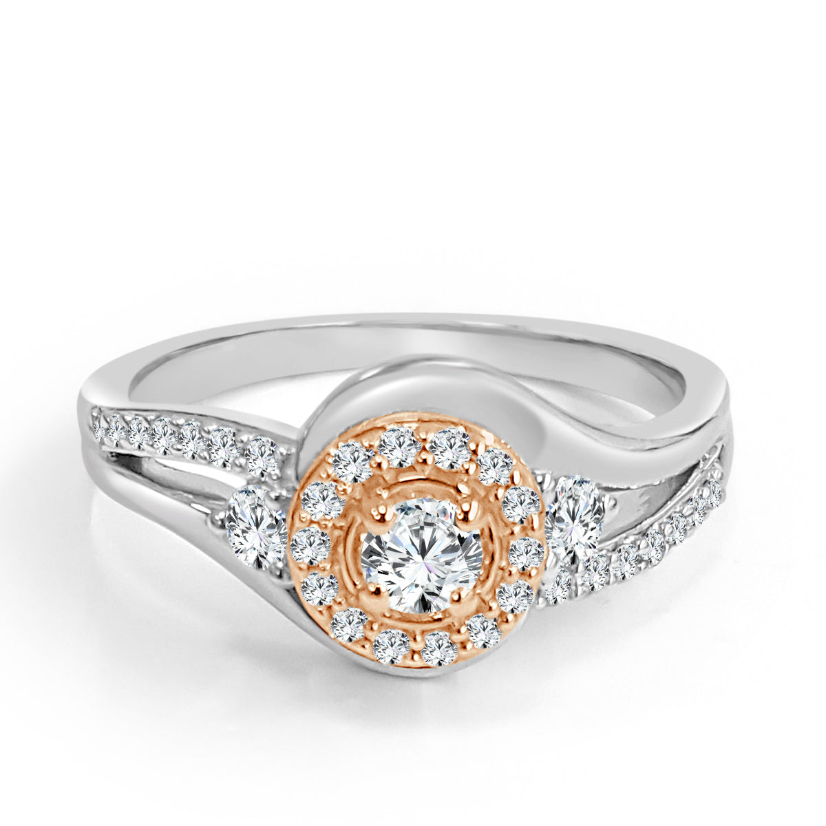 Two Tone Bypass Diamond Halo Engagement Ring