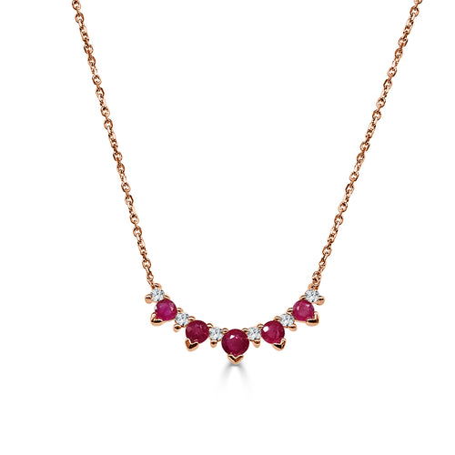 Round Ruby And Diamond Curved Necklace