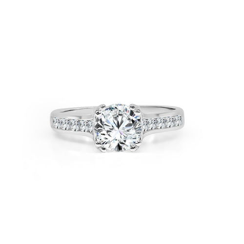 Fana Channel Set Diamond Band With Solitaire Engagement Ring