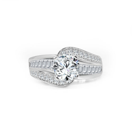 Solitaire With Baguette And Diamond Swirl Band