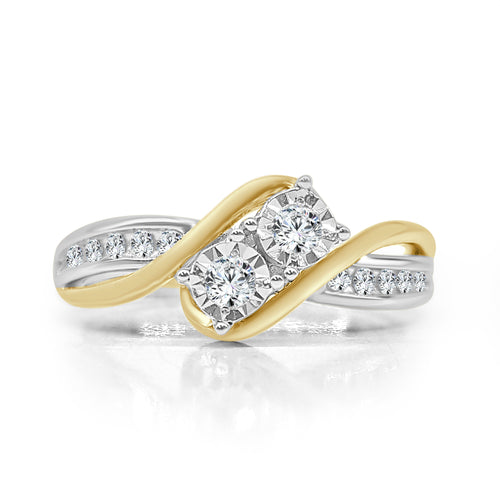 Two Stone Miracle Diamond Ring With Yellow Gold Twist