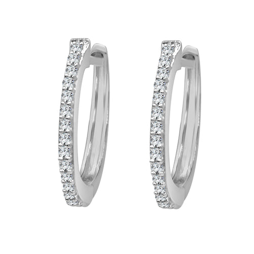 Mini Hoop Earrings With 0.10 Carat Diamonds