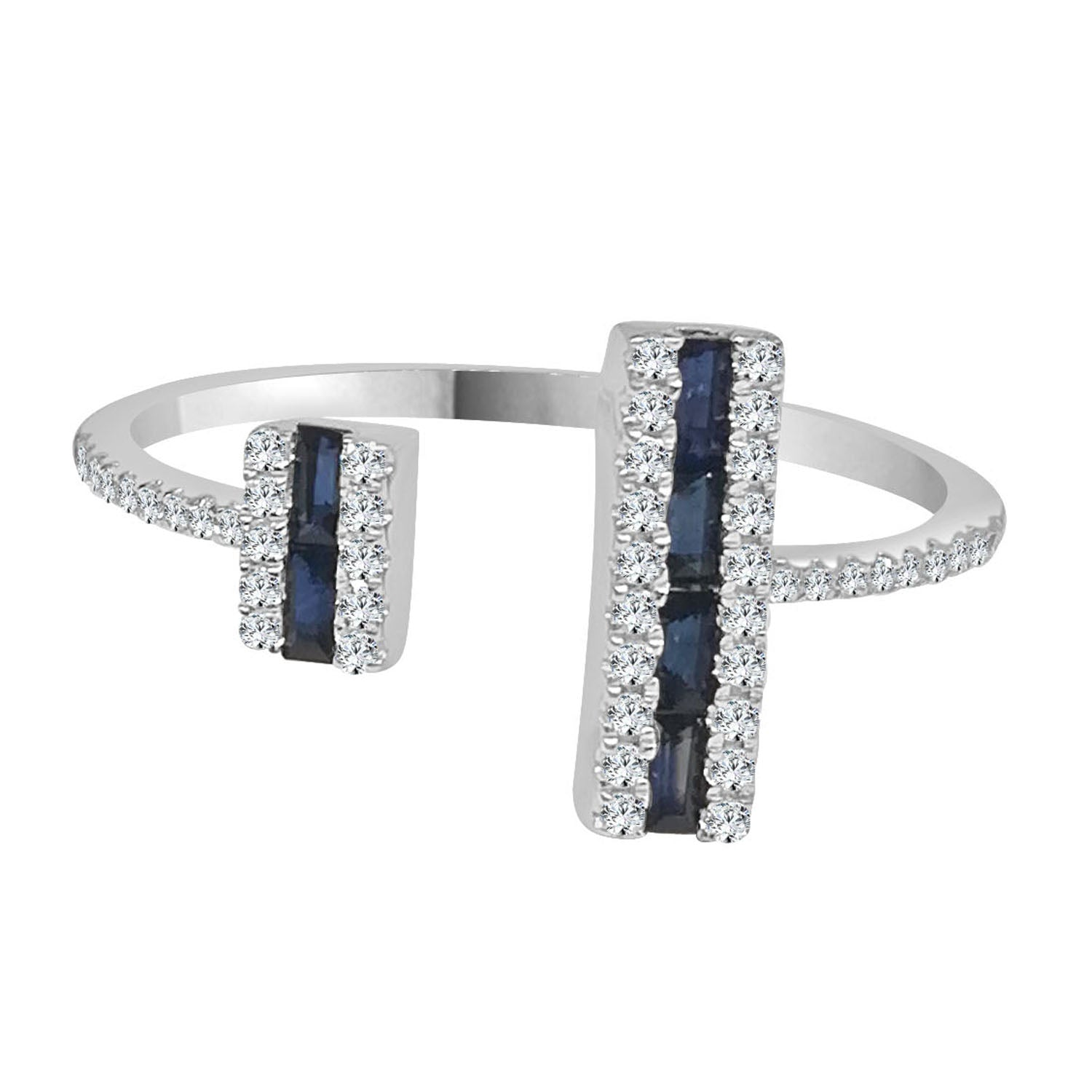 Double Bar Diamond And Sapphire Ring