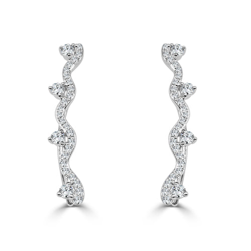 Diamond 0.45 Carat Ear Climbers In White Gold