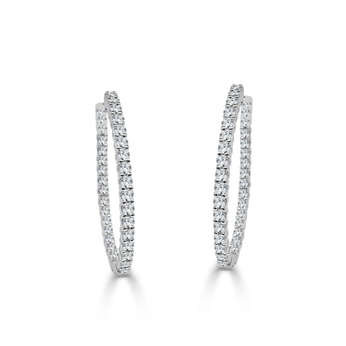 Two Carat Diamond Inside-out Hoop Earrings
