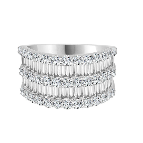 Round And Baguette Diamond 5 Row Fancy Band