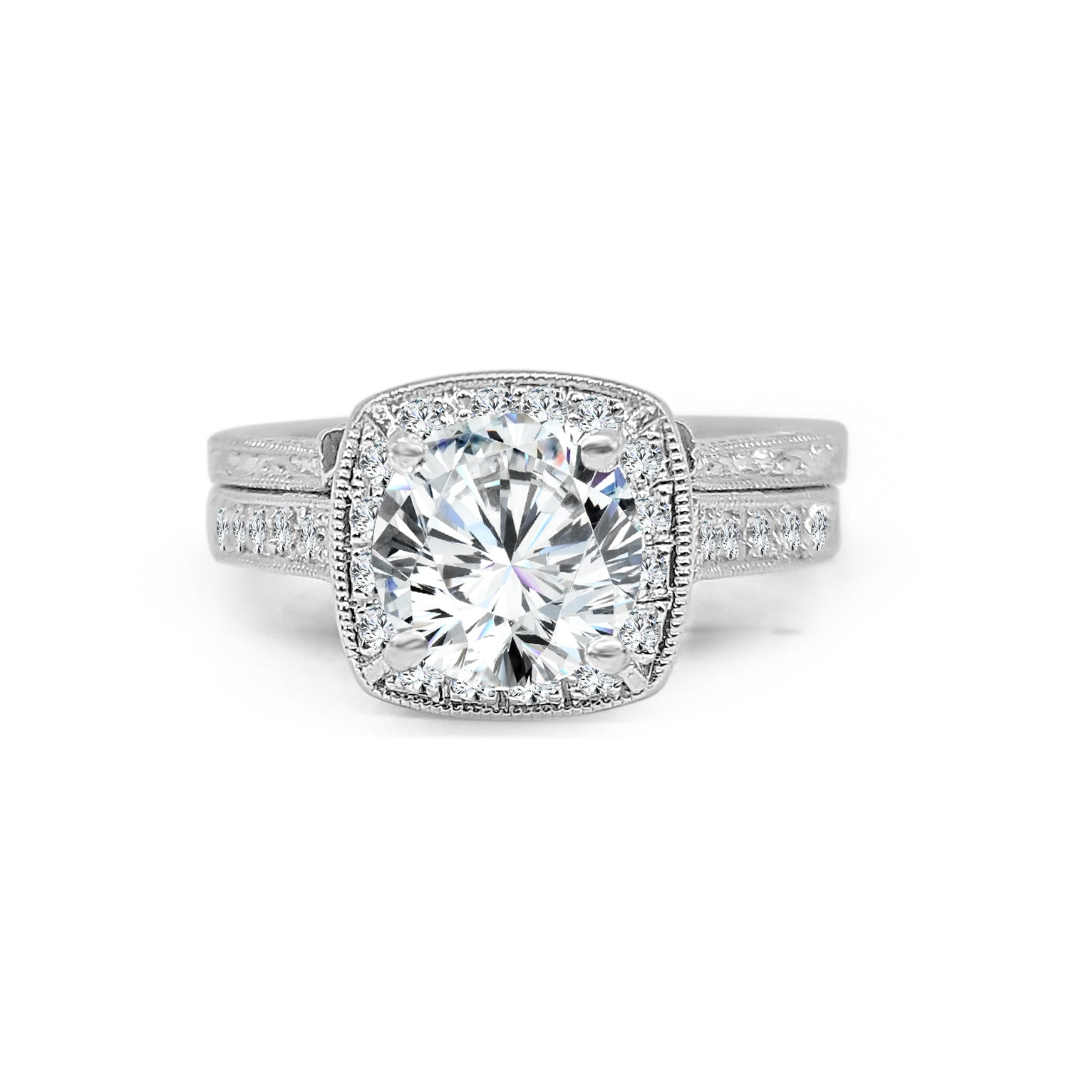 Platinum Cushion Cut Halo Wedding Set