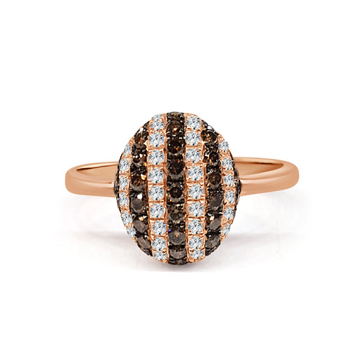 Brown Diamond Striped Dome Ring In Rose Gold