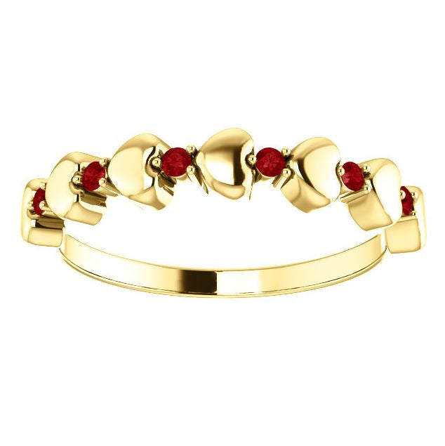 Ruby Heart Polished Ring