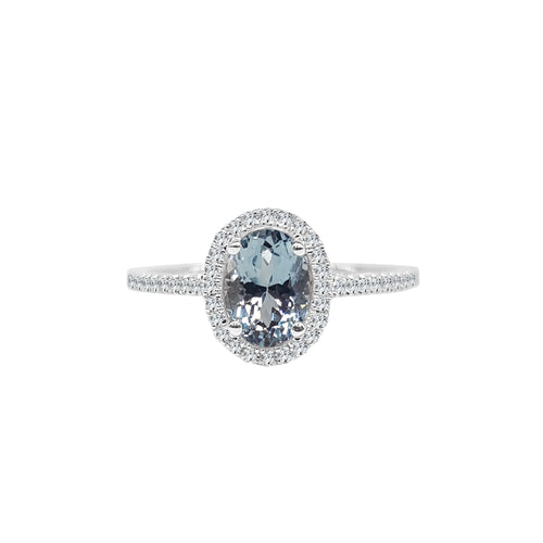 Oval Aquamarine Ring With Diamond Halo And Band