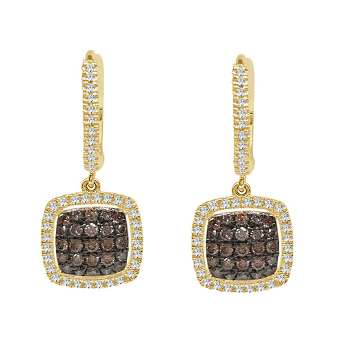 Cluster Brown Diamond Drop Earrings With Halo