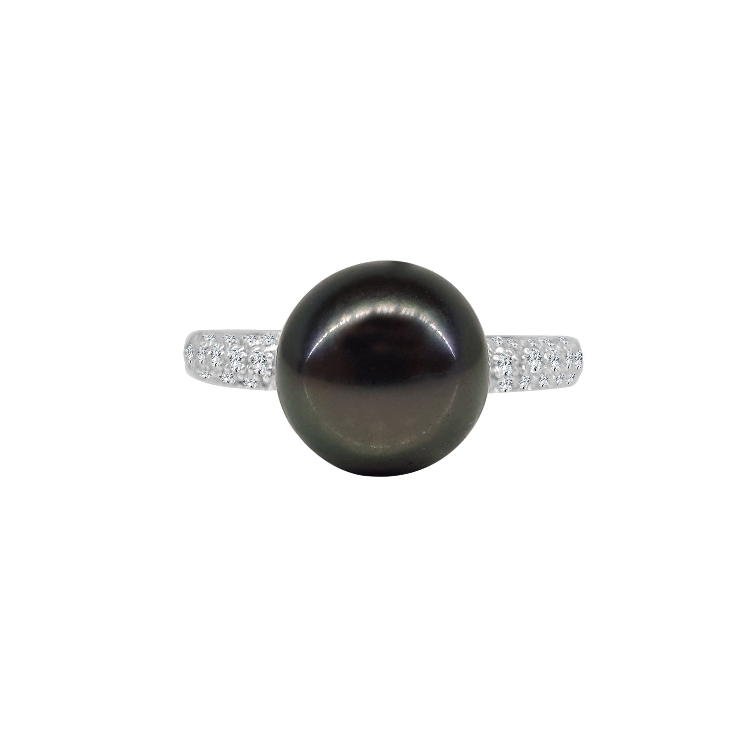Tahitian Pearl Ring With Pave Diamond Band