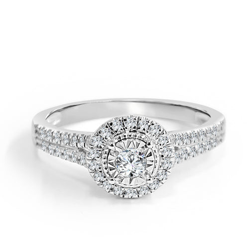 Double Row Diamond Shank Halo Engagement Ring