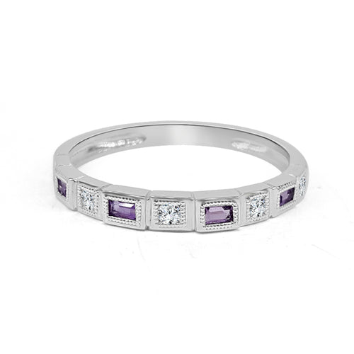 Amethyst And Round Diamond Fancy Band