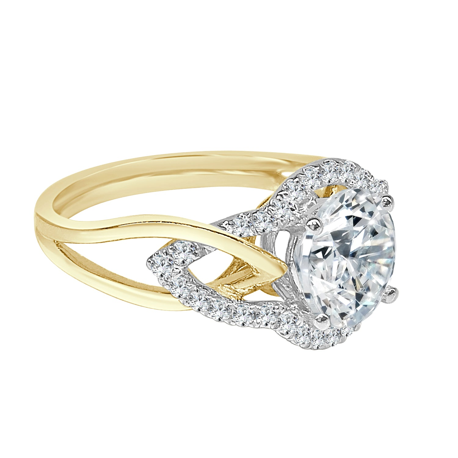 Simon G. Two-tone Twisted Engagement Ring Mounting