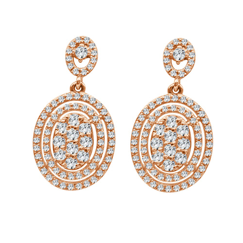 Oval Cluster Drop Earrings With Double Diamond Halo