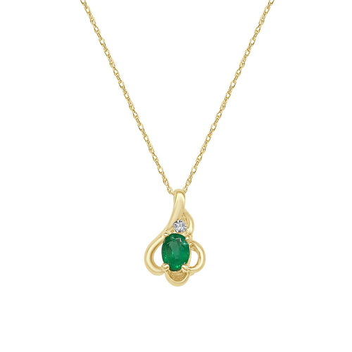 Emerald And Diamond Yellow Gold Fancy Polished Pendant