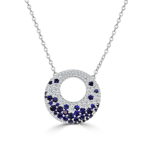 Fana Round Disc Diamond And Sapphire Necklace
