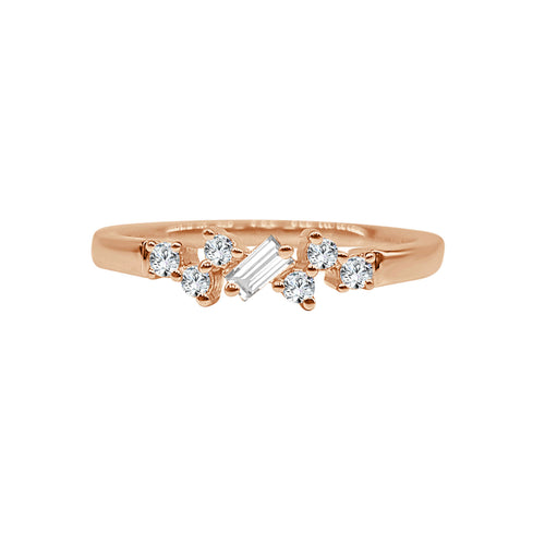 Baguette And Round Diamond Scatter Ring