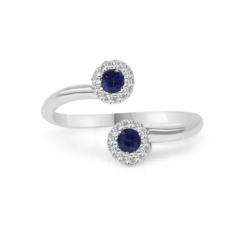 Sapphires With Diamond Halo Wrap Ring