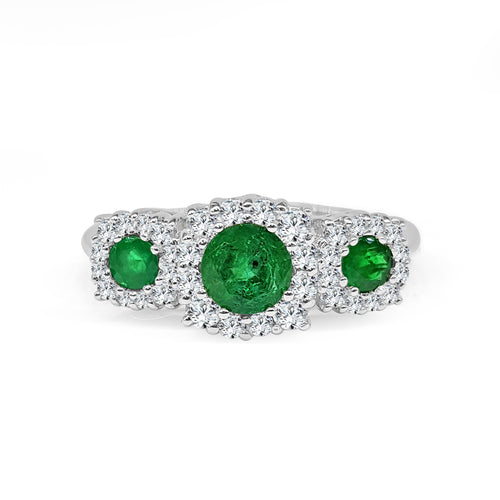 Round Three Stone Emerald Ring With Halo